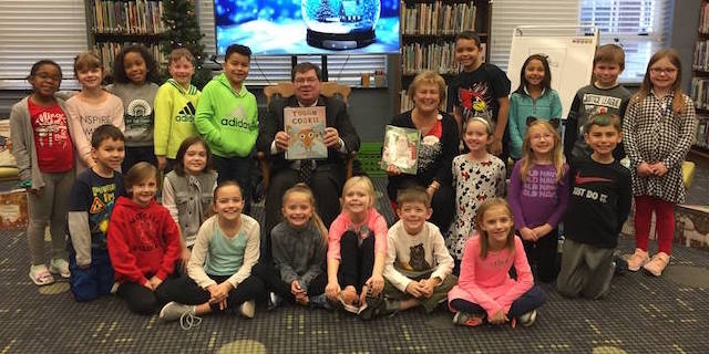 President Dietz Read to the 2nd Graders During Library
