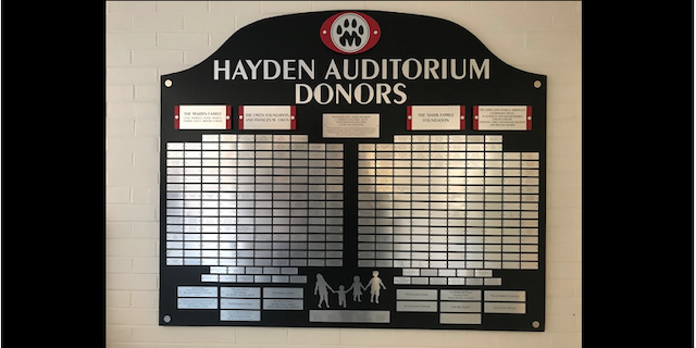 Hayden Auditorium Donors Plaque
