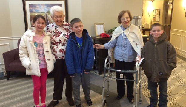 Metcalf 4th Grade visiting with residents at the Evergreen Assisted Living Facility on Valentines day!