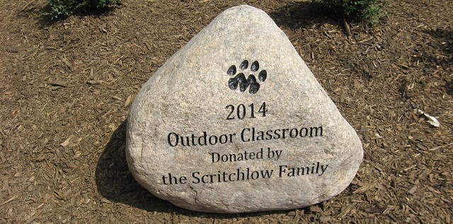 Engraved Rock in Outdoor Classroom